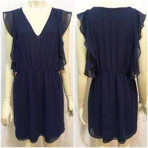 Zara Medium Navy Blue Flutter Sleeve Mini Dress